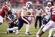 FAYETTEVILLE, AR - OCTOBER 31:  Trent Garland #22 of the UT Martin Skyhawks runs the ball during a game against the Arkansas Razorbacks at Razorback Stadium on October 31, 2015 in Fayetteville, Arkansas.  The Razorbacks defeated the Skyhawks 63-28.  (Photo by Wesley Hitt/Getty Images) *** Local Caption *** Trent Garland