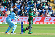 Mushfiqur Rahim (wk) of Bangladesh plays an attacking shot during the ICC Cricket World Cup 2019 match between England and Bangladesh the Cardiff Wales Stadium at Sophia Gardens, Cardiff, Wales on 8 June 2019.