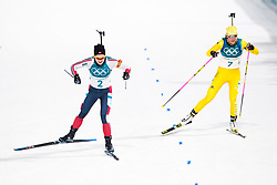 February 12, 2018 - Pyeongchang, SOUTH KOREA - 180212  Marte Olsbu of Norway and Hanna Öberg of Sweden competes in the Women's Biathlon 10km Pursuit during day three of the 2018 Winter Olympics on February 12, 2018 in Pyeongchang..Photo: Jon Olav Nesvold / BILDBYRÃ…N / kod JE / 160156 (Credit Image: © Jon Olav Nesvold/Bildbyran via ZUMA Press)