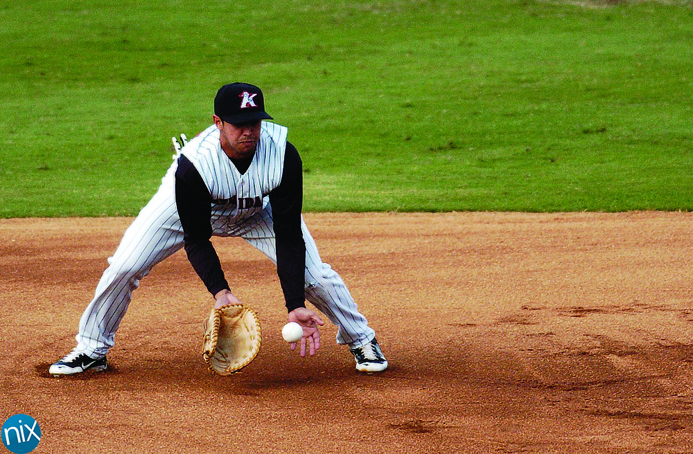 Kannapolis firstbaseman Christian Marrero fields a ground ball against Delmarva Wednesday evening at Fieldcrest Cannon Stadium.