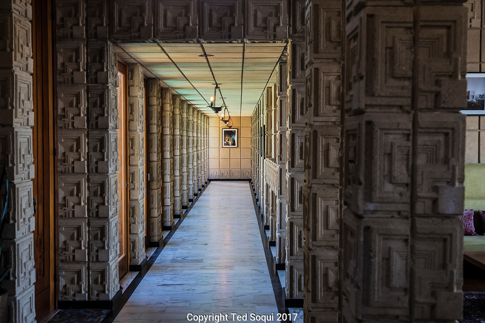 The Ennis House designed by Frank Lloyd Wright.<br /> Hallway to the master bedroom.