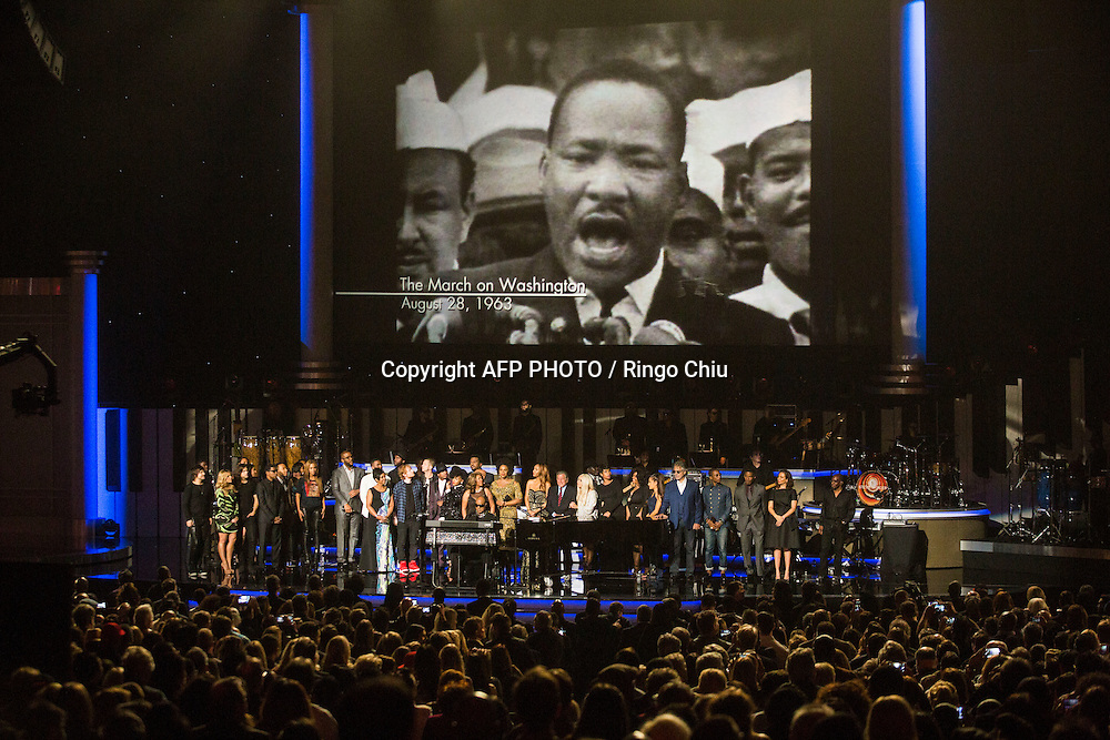 Attendees including honoree Stevie Wonder, recording artists Beyonce, John Legend, Lady Gaga, Jason Derulo, Annie Lennox, Gladys Knight, Ariana Grande, The Band Perry members Neil Perry, Kimberly Perry and Reid Perry, actress Maya Rudolph, actor Jamie Foxx and more perform onstage during Stevie Wonder: Songs In The Key Of Life - An All-Star GRAMMY Salute at Nokia Theatre L.A. Live on February 10, 2015 in Los Angeles, California. AFP PHOTO / Ringo Chiu