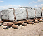 Replica of megalithic transportation of large stones at the Stonehenge visitor attraction site, Wiltshire, England, UK
