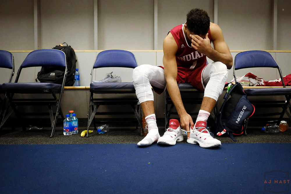 Indiana guard James Blackmon Jr. (1)  after Indiana played Wisconsin in an NCCA college basketball game in the third round of the Big 10 tournament in Washington, D.C., Friday, March 10, 2017. (AJ Mast)