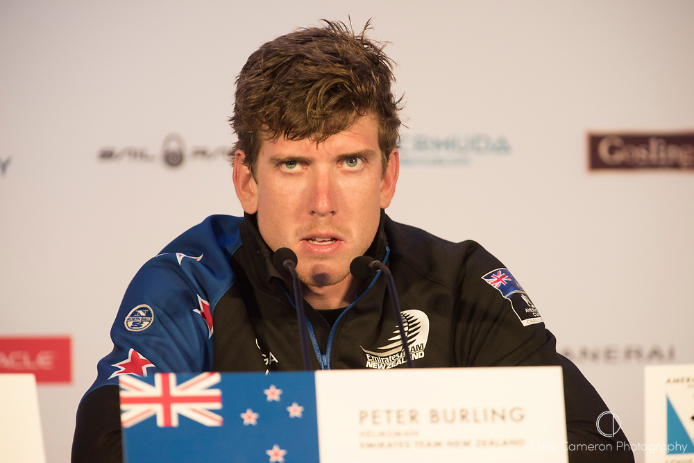 The Great Sound, Bermuda. 6th June 2017. Emirates Team New Zealand helmsman Peter Burling answers questions from the media after the capsize in the pre start for their 4th Louis Vuitton America's Cup Challenger Playoff Semi-Final against Land Rover BAR (GBR).