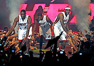 The Miami Heat host the HEAT Summer of 2010 Welcome Event to celebrate Dwyane Wade's return to the team, and introduce its newest acquisitions, Chris Bosh and LeBron James, to the South Florida community at the AmericanAirlines Arena on Friday, July 9, 2010.
