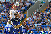 Matt Smith heads for goal  during the Sky Bet Championship match between Cardiff City and Fulham at the Cardiff City Stadium, Cardiff, Wales on 8 August 2015. Photo by Shane Healey.