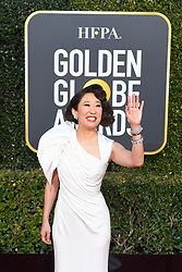 January 6, 2019 - Los Angeles, California, U.S. - Canadian actress SANDRA OH during red carpet arrivals for the 76th Annual Golden Globe Awards at The Beverly Hilton Hotel. Oh, who hosted the awards show also won the prize for best actress in a television drama for her role in Killing Eve. (Credit Image: © Kevin Sullivan via ZUMA Wire)