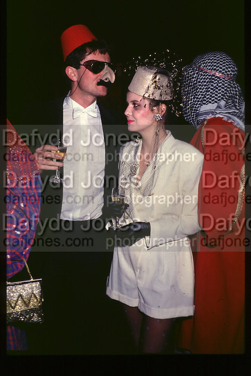 Fancy dress party at Christies, 1984  approx© Copyright Photograph by Dafydd Jones 66 Stockwell Park Rd. London SW9 0DA Tel 020 7733 0108 www.dafjones.com