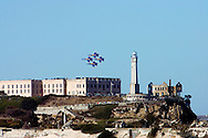 Blue Angels in a diamond formation over Alcatraz at the 2007 Fleet Week Performance In San Francisco