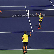 March 14, 2014 Indian Wells, California. Alexander Peya and Bruno Soares defeat Stan Wawrinka and Roger Federer in the semifinals during the 2014 BNP Paribas Open. (Photo by Billie Weiss/BNP Paribas Open)