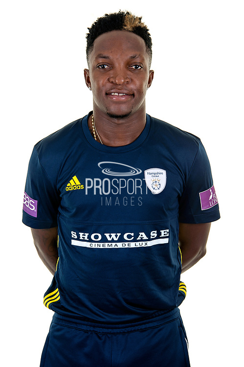 Fidel Edwards of Hampshire in Royal London One Day Cup kit  during the Hampshire County Cricket Club Media Day at the Ageas Bowl, Southampton, United Kingdom on 10 April 2018. Picture by Dave Vokes.