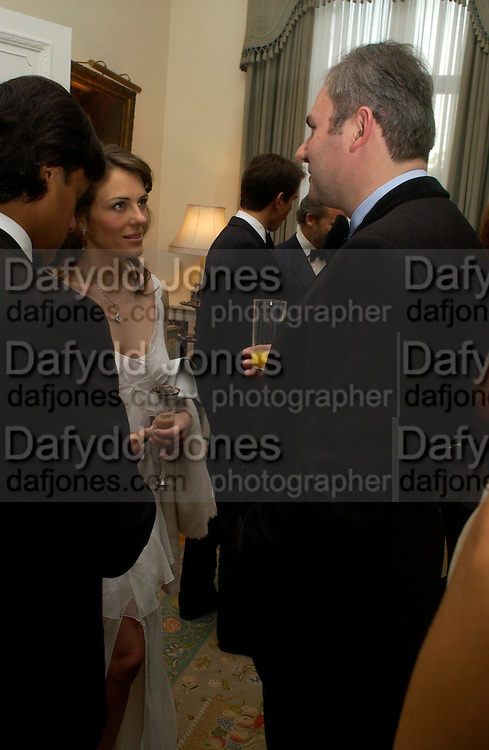 Arun Nayar, Elizabeth Hurley and William Cash. An Evening in honour of Salvatore Ferragamo hosted by the Ambassador of Italy. The Italian Embassy, 4 Grosvenor Square. London W1. 8 June 2005. ONE TIME USE ONLY - DO NOT ARCHIVE  © Copyright Photograph by Dafydd Jones 66 Stockwell Park Rd. London SW9 0DA Tel 020 7733 0108 www.dafjones.com