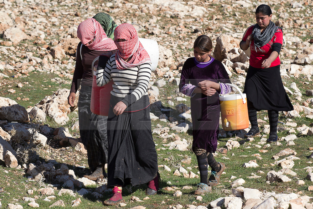 &copy; Licensed to London News Pictures. 11/12/2014. Sinjar Mountains, Iraq. Yazidi refugees, stranded after being surrounded by Islamic State insurgents, are seen on Mount Sinjar.<br /> <br /> Although a well publicised exodus of Yazidi refugees took place from Mount Sinjar in August 2014 many still remain on top of the 75 km long ridge-line, with estimates varying from 2000-8000 people, after a corridor kept open by Syrian-Kurdish YPG fighters collapsed during an Islamic State offensive. The mountain is now surrounded on all sides with winter closing in, the only chance of escape or supply being by Iraqi Air Force helicopters. Photo credit: Matt Cetti-Roberts/LNP