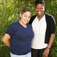 Supportive Housing program case worker, Melissa (in white shirt) with her client Irma. Melissa has provided support to Irma for over two years. <br />