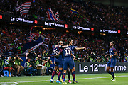 Layvin Kurzawa (psg) celebrated it goal scored from a decisive ball kicked by Neymar da Silva Santos Junior - Neymar Jr (PSG), celebration with Angel Di Maria (psg), Edinson Roberto Paulo Cavani Gomez (psg) (El Matador) (El Botija) (Florestan), Presnel Kimpembe (PSG) during the French championship L1 football match between Paris Saint-Germain (PSG) and Toulouse Football Club, on August 20, 2017, at Parc des Princes, in Paris, France - Photo Stephane Allaman / ProSportsImages / DPPI