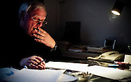 Antonio Lobo Antunes, a distinguished Portuguese writer and novelist, photographed while editing and working on his next book.