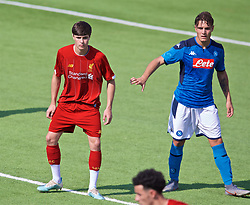 NAPLES, ITALY - Tuesday, September 17, 2019: Liverpool's substitute Layton Stewart (L) during the UEFA Youth League Group E match between SSC Napoli and Liverpool FC at Stadio Comunale di Frattamaggiore. (Pic by David Rawcliffe/Propaganda)