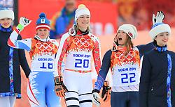 10.02.2014, Rosa Khutor Alpine Center, Krasnaya Polyana, RUS, Sochi, 2014, Super-Kombination, Damen, Podium, im Bild Silbermedaillen Gewinnerin Nicole Hosp (AUT), Olympiasiegerin Maria Hoefl-Riesch (GER), Bronze Medaillen Gewinnerin Julia Mancuso (USA) // Silvermedalist Nicole Hosp (AUT), Olympic Champion Maria Hoefl-Riesch (GER) and Bronze Medalist Julia Mancuso (USA) during Flower Ceremony of the Women's Super Combined of the Olympic Winter Games 'Sochi 2014' at the Rosa Khutor Alpine Center, Krasnaya Polyana, Russia on 2014/02/10. EXPA Pictures © 2014, PhotoCredit: EXPA/ Stefan Matzke