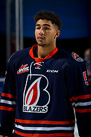 KELOWNA, BC - FEBRUARY 23: Montana Onyebuchi #5 of the Kamloops Blazers lines up against the Kelowna Rockets at Prospera Place on February 23, 2019 in Kelowna, Canada. (Photo by Marissa Baecker/Getty Images)