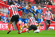 Shrewsbury Town's Jon Nolan and Lincoln City's Lee Frecklington during the EFL Trophy Final match between Lincoln City and Shrewsbury Town at Wembley Stadium, London, England on 8 April 2018. Picture by John Potts.