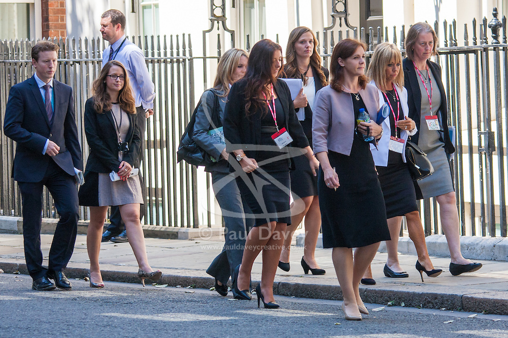 London, July 29th 2014. Family members of the British passengers who lost their lives when Air Malaysia's Flight MH17 was shot down over the Ukraine visit 10 Downing street to meet with Prime Minister David Cameron.