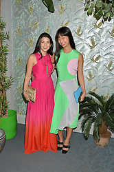 Left to right, SHIRA SUVEYKE (Co President/ Chief Merchant at THE OUTNET.COM) and REBECCA TAY at the launch of Matthew Williamson's 'Sea to Shore' range for The Outnet.com held at the Matthew Williamson's showroom, Studio 10-11, 135 Salusbury Road, London NW6 on 5th May 2016