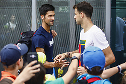 April 23, 2018 - Barcelona, Spain - BARCELONA, SPAIN - APRIL 23: Grigor Dimitrov from Bulgaria and Novak Djokovic from Serbia during the Barcelona Open Banc Sabadell 66º Trofeo Conde de Godo at Reial Club Tenis Barcelona on 23 of April of 2018 in Barcelona. (Credit Image: © Xavier Bonilla/NurPhoto via ZUMA Press)