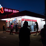 A neon lit Dairy Queen is seen at Dusk in Buckhannon, WV on Sunday, September 24, 2017.