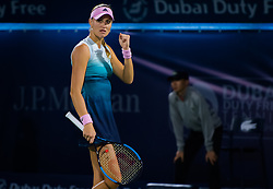 February 19, 2019 - Dubai, ARAB EMIRATES - Kristina Mladenovic of France in action during her second-round match at the 2019 Dubai Duty Free Tennis Championships WTA Premier 5 tennis tournament (Credit Image: © AFP7 via ZUMA Wire)