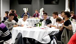 Josh Brownhill, Jamie Paterson, Callum O'Dowda, Richard O'Donnell, Aden Flint and Marlon Pack of Bristol City take part in the City Foundation Quiz - Mandatory by-line: Robbie Stephenson/JMP - 19/09/2016 - FOOTBALL - Ashton Gate - Bristol, England - Bristol City Community Trust Quiz