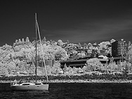 Infrared black and white of sailboat in Seattle harbor