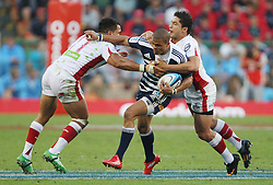 Juan de Jongh of the Stormers takes on the Reds defense during the Super Rugby (Super 15) fixture between DHL Stormers and the Reds played at DHL Newlands in Cape Town, South Africa on 9 April 2011. Photo by Jacques Rossouw/SPORTZPICS
