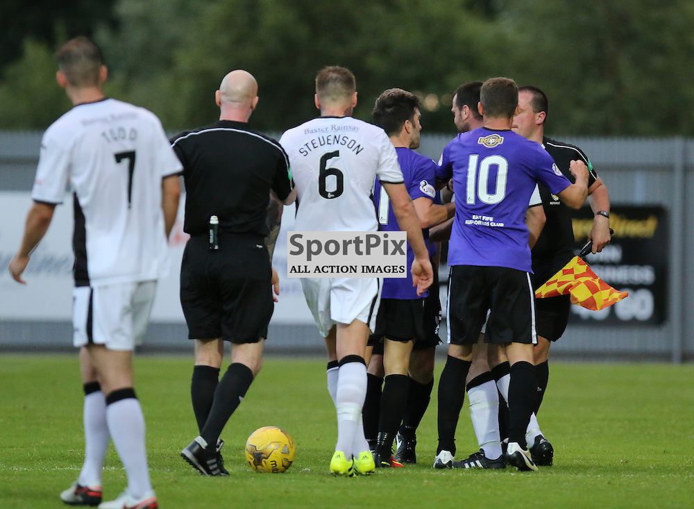 Garry Flemimg is not happy about his treatment during the Dumbarton v East Fife Scottish League Cup group stage 19 July 2016<br /> <br /> (c) Andy Scott | SportPix.org.uk