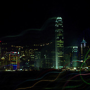 A Panoramic view of the Hong Kong skyline and harbour at night  in Hong Kong, China on October 14, 2007 Photo Tim Clayton