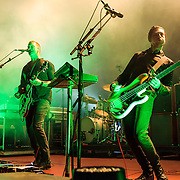 """COLUMBIA, MD - July 17th, 2014 - Josh Homme and Michael Shuman of Queens of the Stone Age perform at Merriweather Post Pavilion. The band's 2013 album, """"…Like Clockwork,"""" was the group's first album to top the US Billboard 200 album charts. (Photo by Kyle Gustafson / For The Washington Post)"""