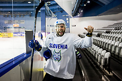 Rok Ticar of Slovenia reacts during practice session of Team Slovenia at the 2017 IIHF Men's World Championship, on May 11, 2017 in AccorHotels Arena in Paris, France. Photo by Vid Ponikvar / Sportida