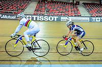 Francois Pervis / Sandie Clair - 27.01.2015 -Entrainement Equipe de France de cyclisme sur piste - Saint Quentin en Yvelines <br />Photo : Anthony Dibon / Icon Sport