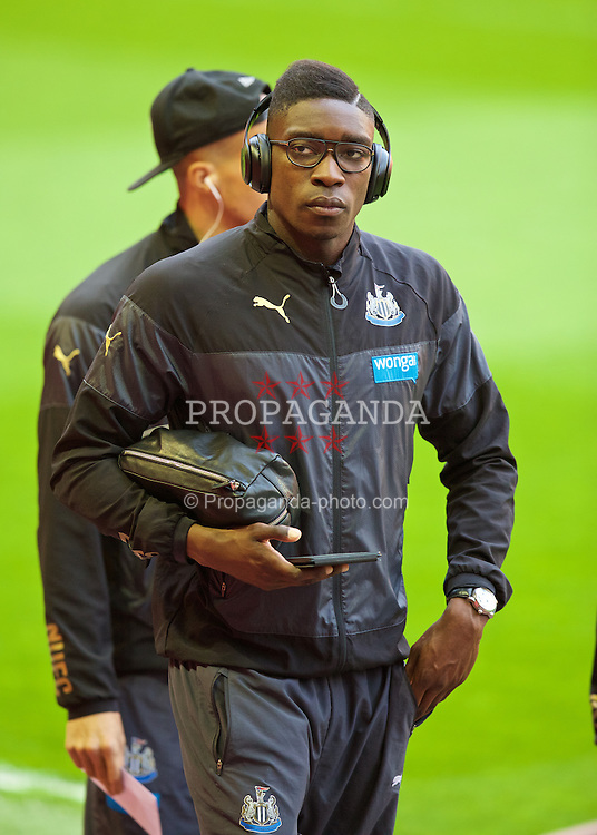 LIVERPOOL, ENGLAND - Monday, April 13, 2015: Newcastle United's Sammy Ameobi arrives ahead of the Premier League match against Liverpool at Anfield. (Pic by David Rawcliffe/Propaganda)