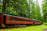 Skunk Train (tourist train) at Willits, Mendocino County, California USA