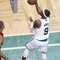 07 June 2012: Boston Celtics point guard Rajon Rondo (9) goes for the layup during first half of Game 6 of the Eastern Conference Finals playoff series, Heat at Celtics at the TD Banknorth Garden, Boston, Massachusetts, USA.
