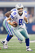 DALLAS, TX - SEPTEMBER 23:  Tony Romo #9 of the Dallas Cowboys runs the ball against the Tampa Bay Buccaneers at Cowboys Stadium on September 23, 2012 in Dallas, Texas.  The Cowboys defeated the Buccaneers 16-10.  (Photo by Wesley Hitt/Getty Images) *** Local Caption *** Tony Romo