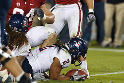 November 6, 2010; Stanford, CA, USA;  Arizona Wildcats running back Keola Antolin (2) dives into the end zone for a touchdown against the Stanford Cardinal during the fourth quarter at Stanford Stadium.  Stanford defeated Arizona 42-17.