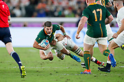 Willie le Roux of South Africa is tackled during the World Cup Japan 2019, Final rugby union match between England and South Africa on November 2, 2019 at International Stadium Yokohama in Yokohama, Japan - Photo Yuya Nagase / Photo Kishimoto / ProSportsImages / DPPI