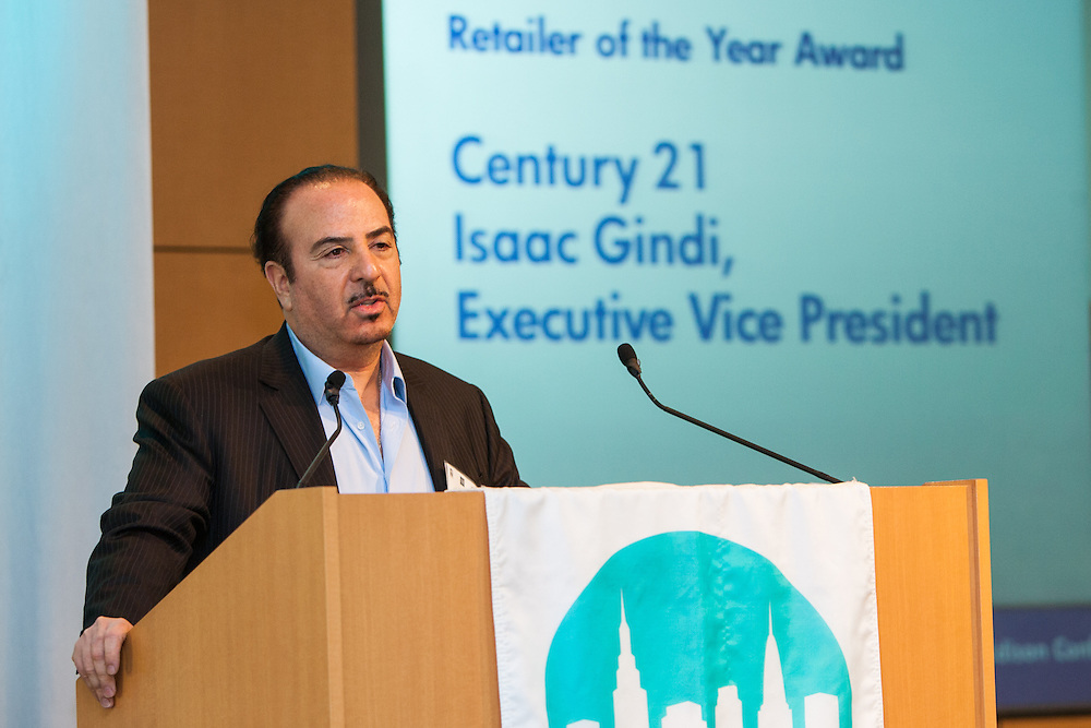 Retailer of the Year, Century 21's EVP, Isaac Gindi. Manhattan Chamber of Commerce's 2012 Awards Breakfast celebrated business excellence by recognizing outstanding leaders. The awards were presented by Well Fargo and hosted at Con Edison's Conference Center on January 31, 2013.