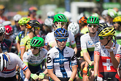 Lotta Lepistö (FIN) of Cervélo-Bigla Cycling Team focuses on the start line of the La Course, a 89 km road race in Paris on July 24, 2016 in France.