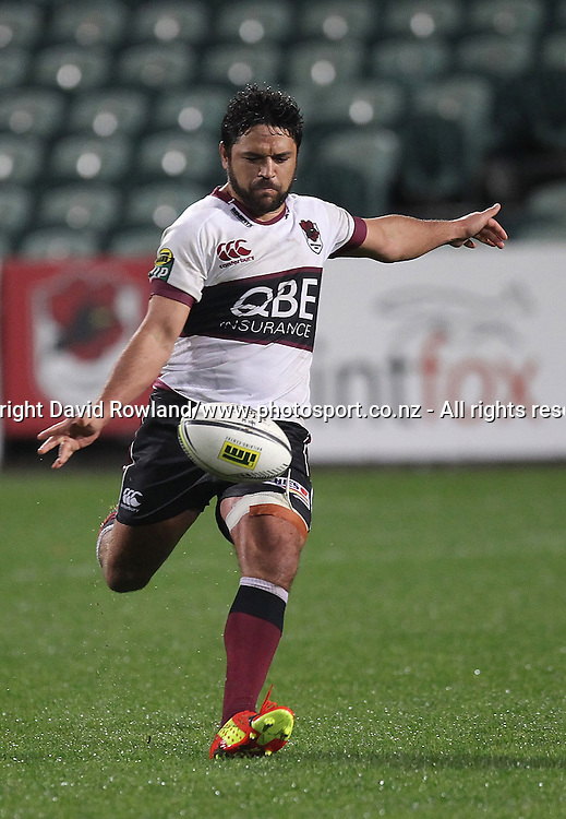 North Harbour`s Daniel Halangahu kicks in an ITM Cup Rugby Match, North Harbour v Manawatu, QBE Stadium, Auckland, New Zealand, Friday, September 12, 2014. Photo: David Rowland/Photosport