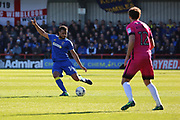 AFC Wimbledon midfielder Tom Soares (14) with a cross field pass during the EFL Sky Bet League 1 match between AFC Wimbledon and Southend United at the Cherry Red Records Stadium, Kingston, England on 25 March 2017. Photo by Matthew Redman.
