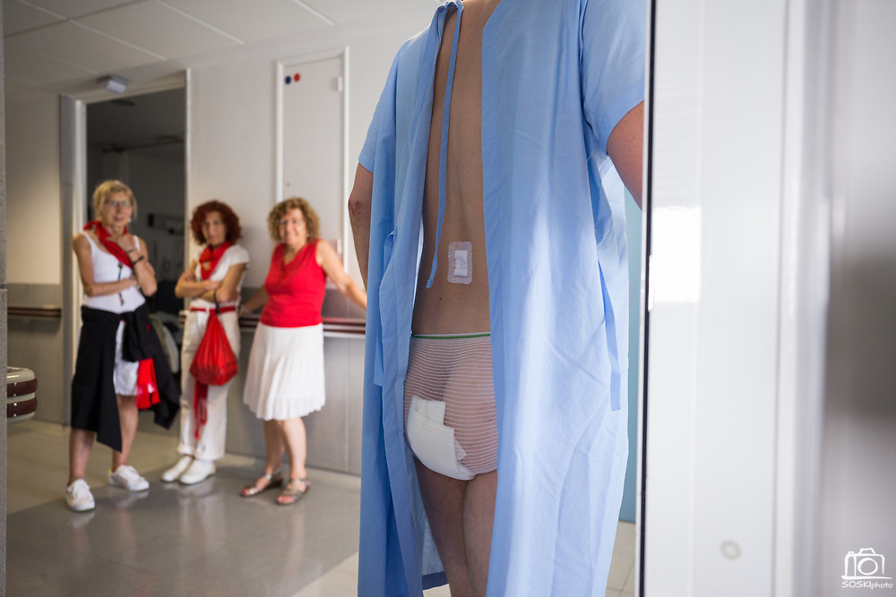 Chicago-based author and 12-year veteran bull runner Bill Hillmann recovers from a 3 centimeter goring to his left butt cheek, which happened during the second encierro during the Fiesta de San Fermin, at Servicio Navarro de Salud in Pamplona, Spain, on July 8, 2017. (Stan Olszewski/SOSKIphoto)