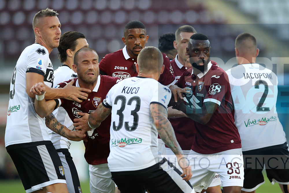 Players from both sides tussle at a corner kick during the Serie A match at Stadio Grande Torino, Turin. Picture date: 20th June 2020. Picture credit should read: Jonathan Moscrop/Sportimage